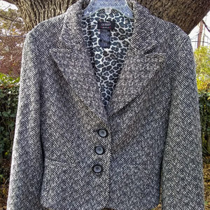 Guess Black & White Herringbone Wool-Blend Blazer